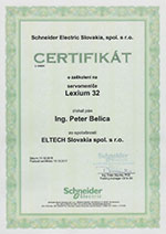 Certificate of completing the course on servodrives Lexium 32